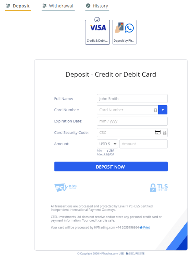 HFTrading Deposit