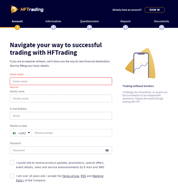 HFTrading Account Opening